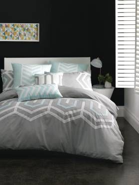RALSTON QUILT COVER SETS SINGLE GREY/MINT QUILT COVERS
