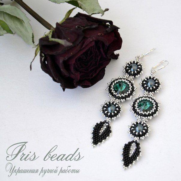 """Купить Серьги из Бисера Украшение """"Emerald"""" - изумрудный, изделия ручной работы, серьги, серьги длинные"""