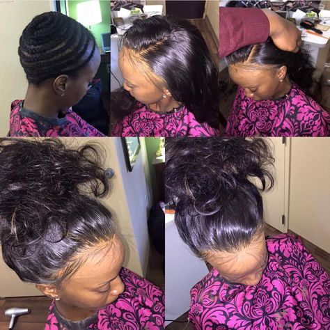 full head sew in! NO LEAVE OUT! Not even baby hair!! NO GLUE, NO TAPE! Full frontal work!!! Customized lace frontal! Made by Richard Anthony Flowers