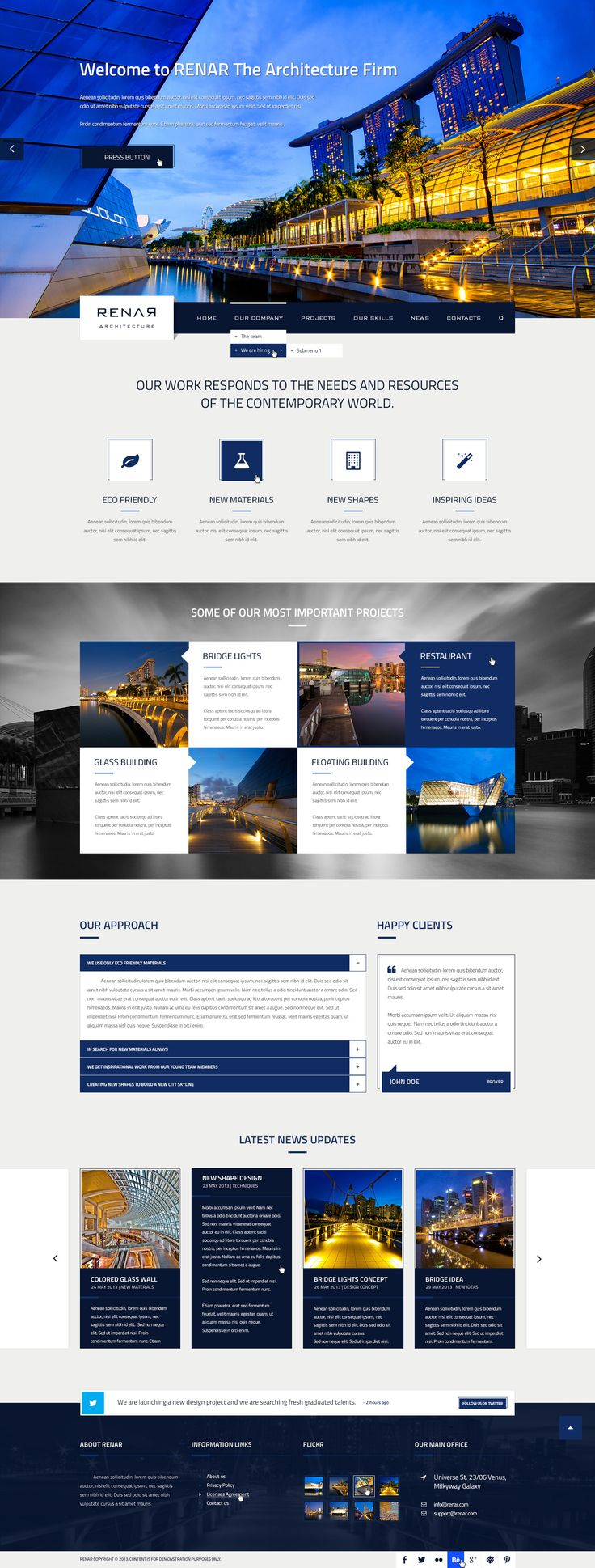 Renar is a design for an architecture firm. It can be use as well for corporate websites. It includes many features and it's easy to customize.