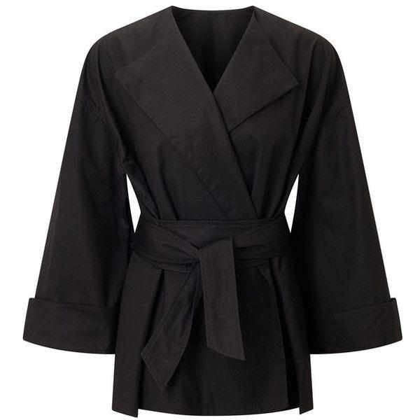 Rigsley Black Cotton Designer Jacket - Shop The Roland Mouret Pre Fall... ($1,850) ❤ liked on Polyvore featuring outerwear, jackets, roland mouret and cotton jacket