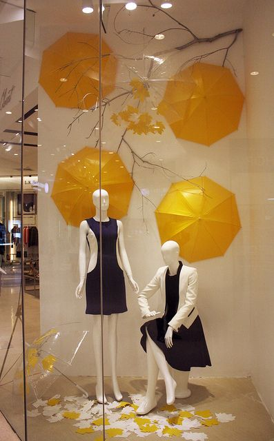 I would do this in orange for fall, ponk or green for spring. ROSEMARY FALL/WINTER 2012 WINDOW DISPLAY by MA NG., via Flickr