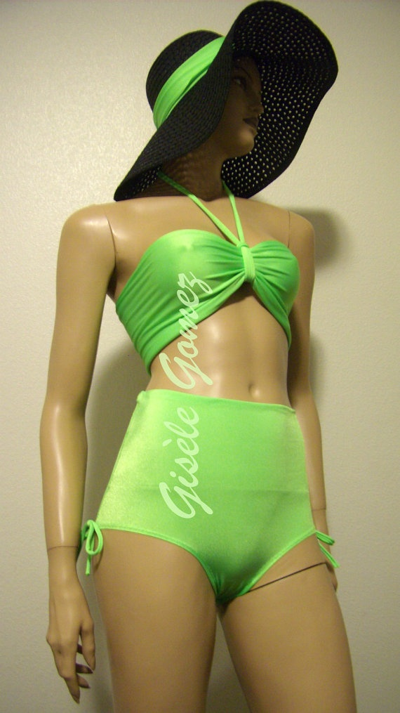 Multi-way / Multi-Kini Neon Green Swimsuit: Bandeau, Bow-bra, Bustier or Tankini Tops worn with High-waist to low rise Bikini Bottoms