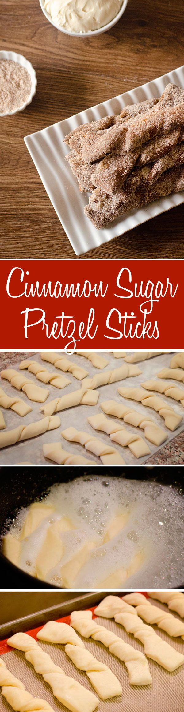 making soft pretzel sticks are easy and delicious, especially covered with cinnamon and sugar and dipped in cream cheese frosting