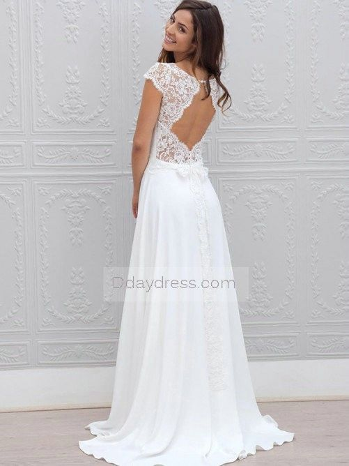 Save on A-Line Short Sleeves Scoop Lace Brush Train Wedding Dress #ddaydress #weddingdress #spring #simpleweddingwear #brushtrain #fashiondress