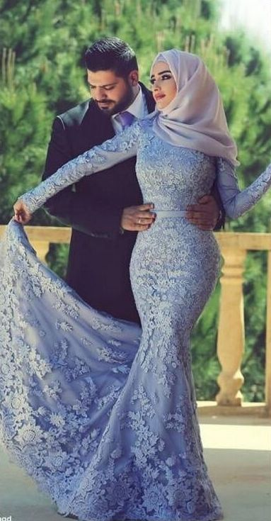 $169-Long Sleeves Lace Mermaid Muslim Prom Dresses Elegant Islamic Evening Gowns