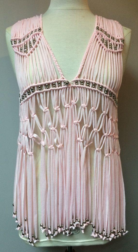 Macrame Crochet Hammock Festival Womens Silver Beaded Fringe Tassel Waistcoat Top Light Pink