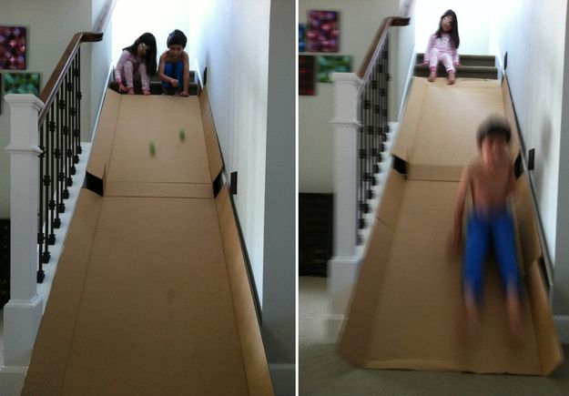 Stair slide made from a cardboard box. | 39 Coolest Kids Toys You Can Make Yourself
