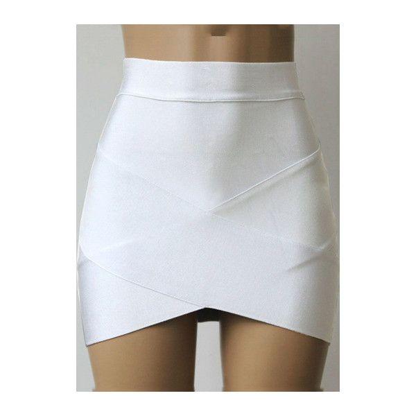 Rotita High Waist White Asymmetric Bandage Skirt (150 NOK) ❤ liked on Polyvore