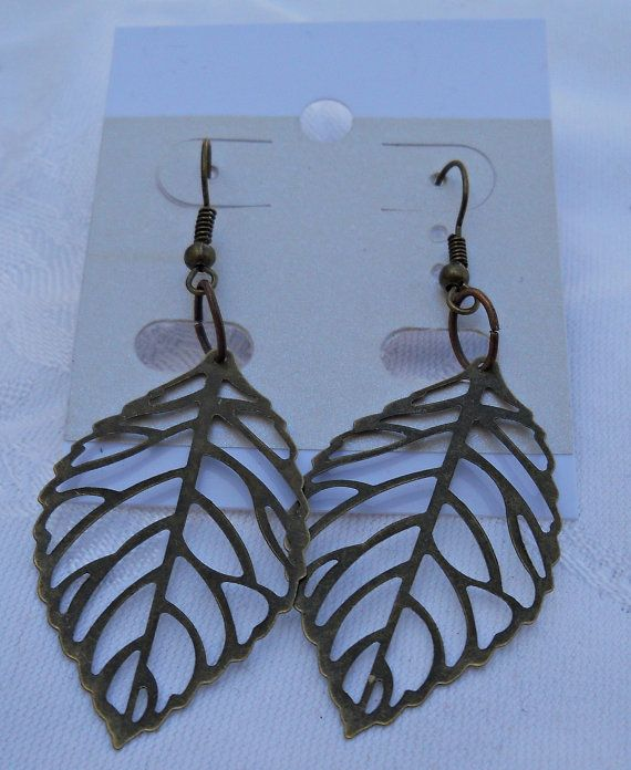 Gorgeous Brass Dangly Leaf Shaped Pierced by CelestialStudio13, $14.32