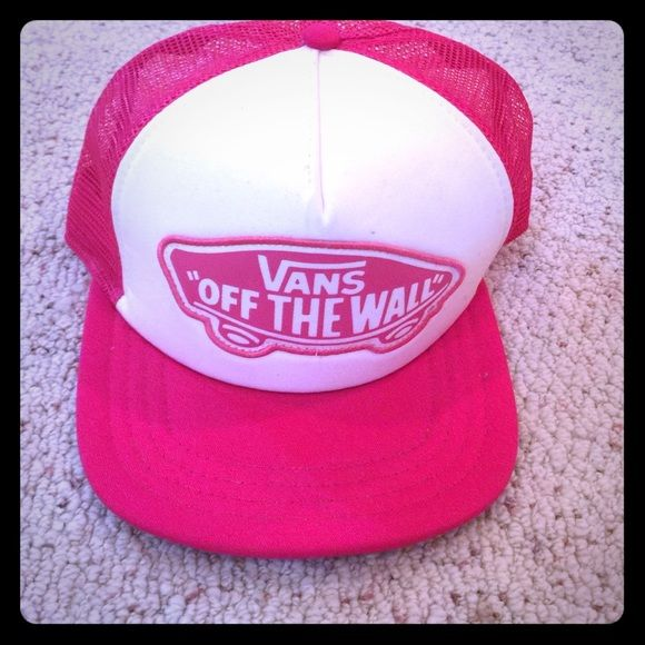 Hot pink Vans SnapBack Hot pink mesh in the back, white front with a hot pink Vans logo and a hot pink rim. Vans Accessories Hats
