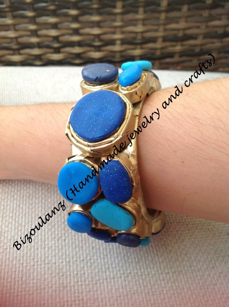 Papier mache bangle with polymer clay, modern combination of gold and blue