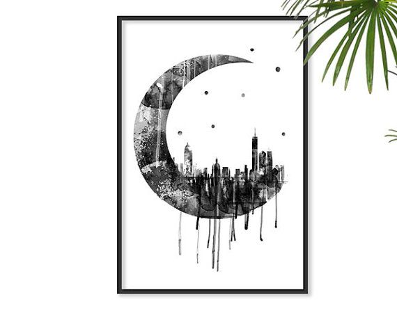 Moon Poster Geometric Art Galaxy Night Sky Scraper City