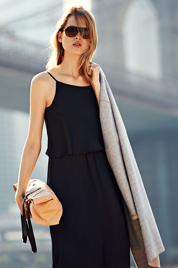Forget the maxi's bohemian overtones and style it with a structured bag and grey overcoat.
