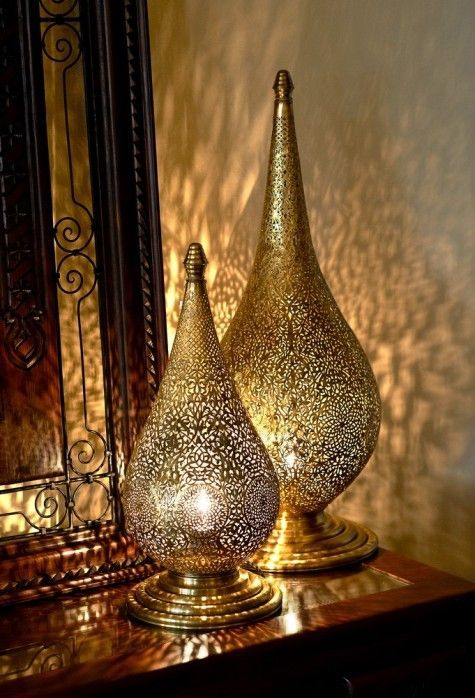 Votive candles in Moroccan lanterns