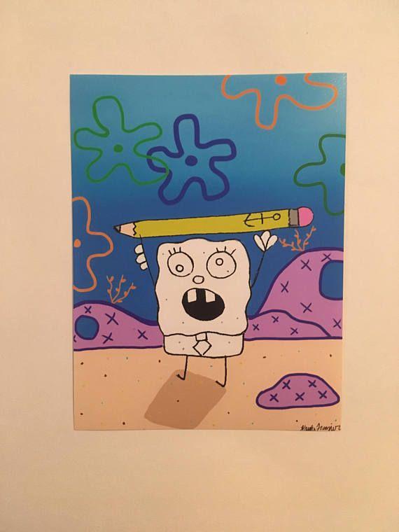 Spongebob inspired doodle bob digital drawing photo print