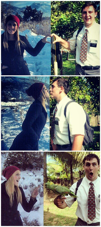 Fun missionary and girlfriend pictures. AWWWW. Maybe ill do this without him knowing... Then show him when he gets home ;)