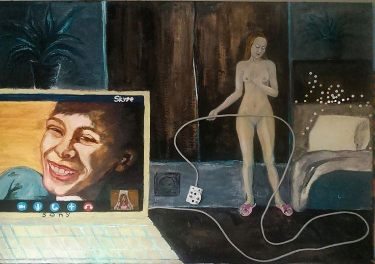 Just hanging, Mixed Media,canvas,  100x70 cm, 2015 , Margarita Vid