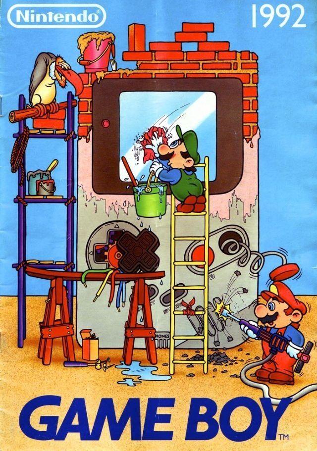 Vintage illustration of Mario and Luigi repairing a Gameboy.