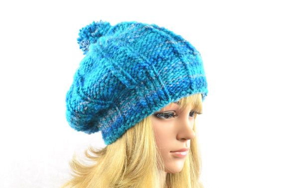 "Knitted bobble hat ""Bonny"" in turquoise with glitter effect in silver from AngisWollBobbl"