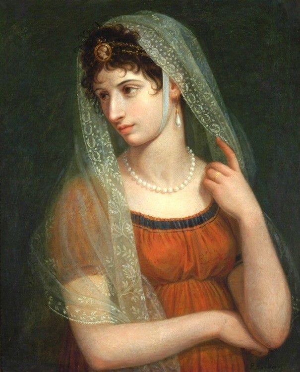 "PIETRO BENVENUTI It. 1769 -1844 Portrait of a Lady (Elisa Bonaparte?) Signed ""P. Benvenuti"" l.r. Oil on canvas 28  1/4  × 22  3/4  in.(71.8 × 57.8 cm)"