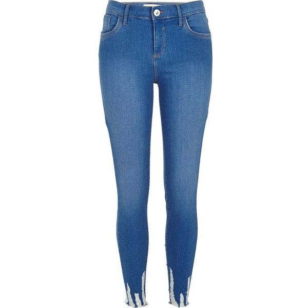 River Island Blue Amelie super skinny jeans ($84) ❤ liked on Polyvore  featuring jeans
