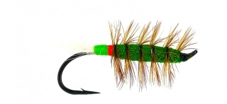 Salmon Fly - Green Machine Red/Green with White tail