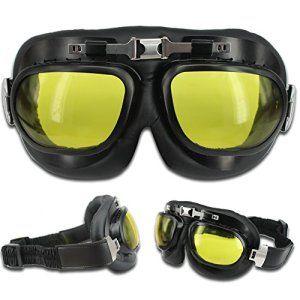 ECOMBOS Vintage Lunettes de Protection Moto Cross Eyewear Aviateur Pilot Scooter Vélo Anti-UV (Jaune)
