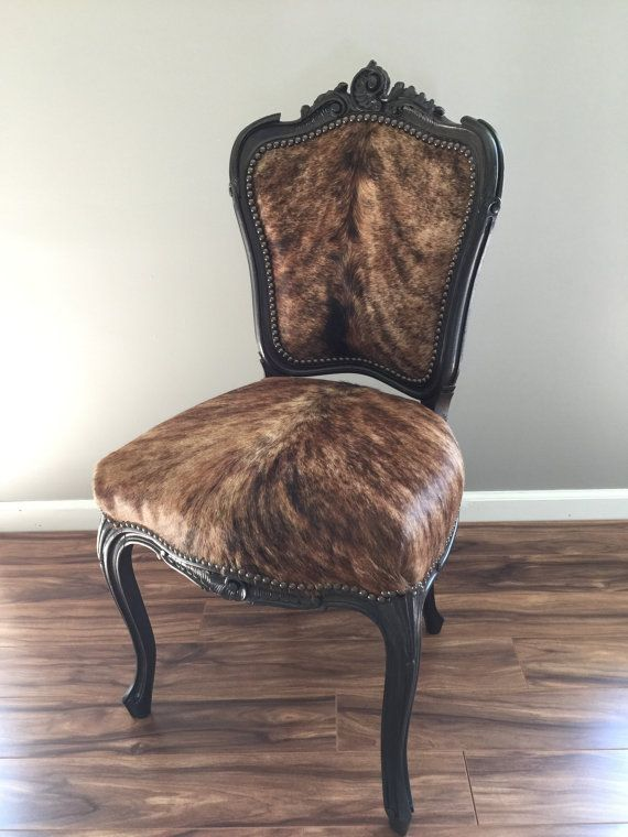 Vintage French Cowhide Covered Accent Chair by TxGirlCustomCowhide