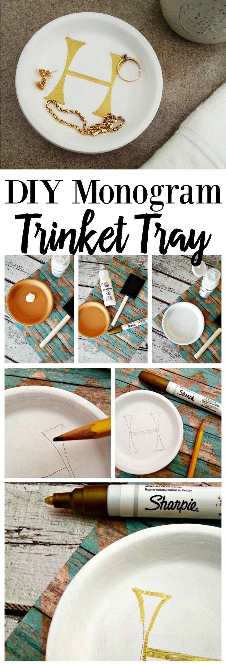 DIY Monogram Trinket Tray