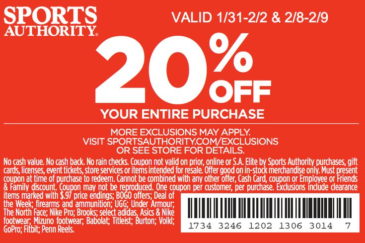 graphic relating to Printable Sports Authority Coupon referred to as Athletics authority printable in just retailer discount codes 2018 / Wcco