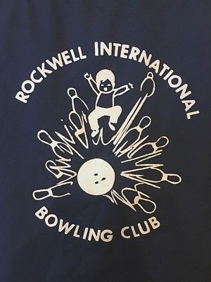 Vintage Mr. Mort's Rockwell International Bowling Club Shirt with Flocked Screen Print