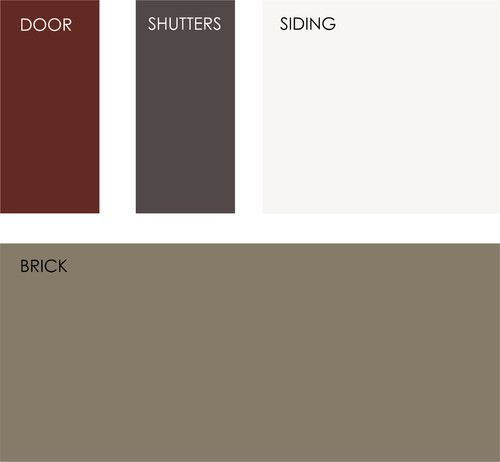 All colors from Benjamin Moore. Clockwise from top left: Cottage Red, Midsummer…