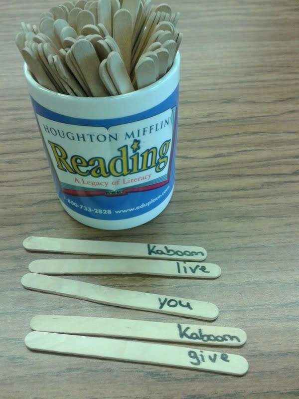 Kaboom sight word game- each student takes a turn, pulls a popsicle stick and says the word on it and collects the words they know. If they get a Kaboom they have to put their sticks back. The person with the most sticks in 5 minutes wins the game.
