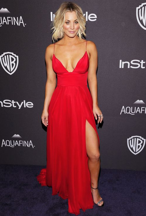 Kaley Cuoco in a red Christian Siriano dress