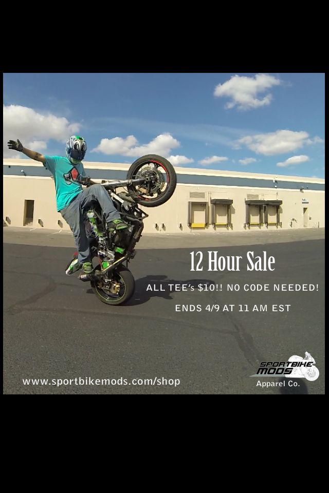 Good evening riders! We are awaiting new inventory currently and need to blow out what we have left in stock! For 12 hours starting now all remaining tees will be $10!! Those of you who haven't grabbed one this is your chance! If you already have grab one for a buddy! Only $10   www.sportbikemods.com/shop  #sportbikemods #sale #moto #bikelife #r1 #yamaha #apparel #sportbike #crotchrocket #cbr #r6 #kawasaki #honda #bikersofinstagram #stuntbike #racing