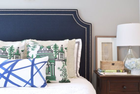 ShorelinHome | Upholstered Headboard, King, Queen, Full, Twin Size, Belgrave Shaped, Navy Blue Linen Fabric, Double Row Hammered Nickel Nailhead Trim