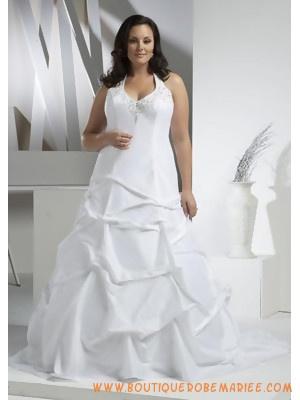 Robe de mariée grande taille bretelle au cou jupe froncé  Robe de ...