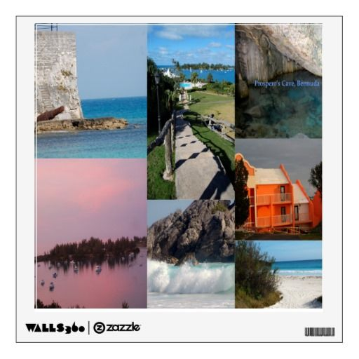 Scenic Bermuda Photo Collage Removable Wall Decal. Peel and unpeel this colorful vacation wall decal in your office or home! starting at $18.95