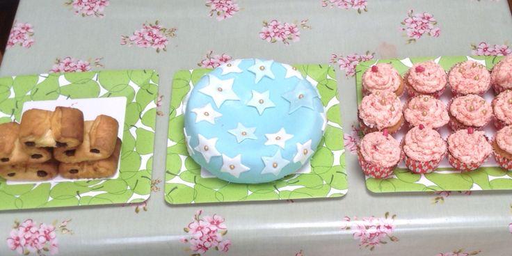 Pastries, chocolate star cake and fresh strawberry cake
