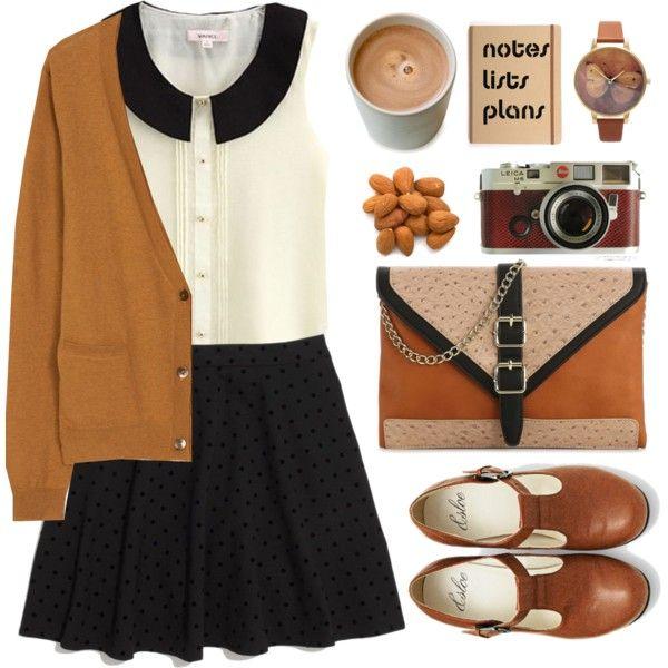 Browns, blacks, creams. T-straps. Peter Pan collar. Skirt. Cardigan.