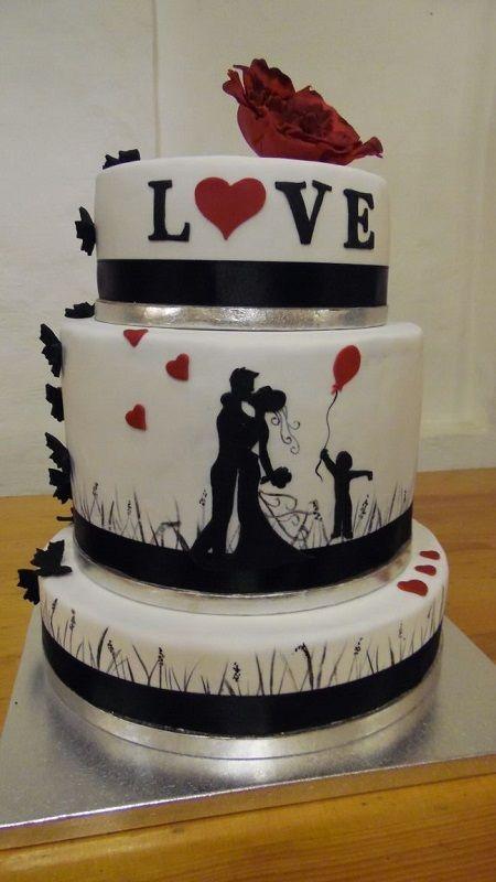 Hochzeit Torte Hochzeitstorte Silhouette rot schwarz Brautpaar dreistöckig