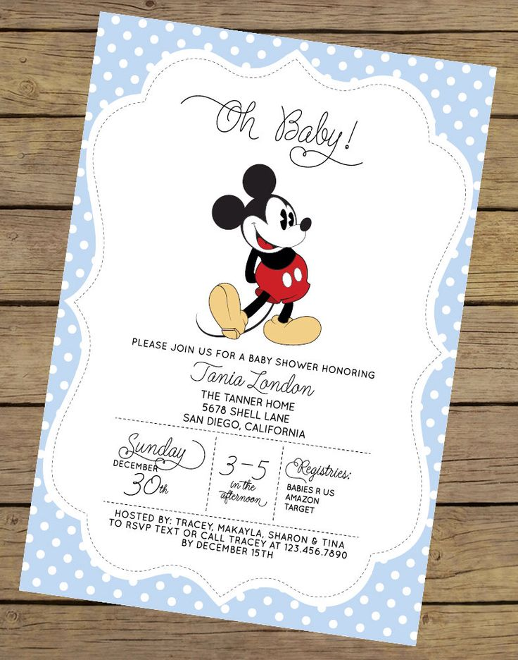 Mickey Mouse Baby Shower Invitation | Boy Baby Shower Invitation | Baby Shower Invite | Blue Baby Shower Invitation | Boy Baby Shower by CharlesAlexDesign on Etsy https://www.etsy.com/listing/209765472/mickey-mouse-baby-shower-invitation-boy