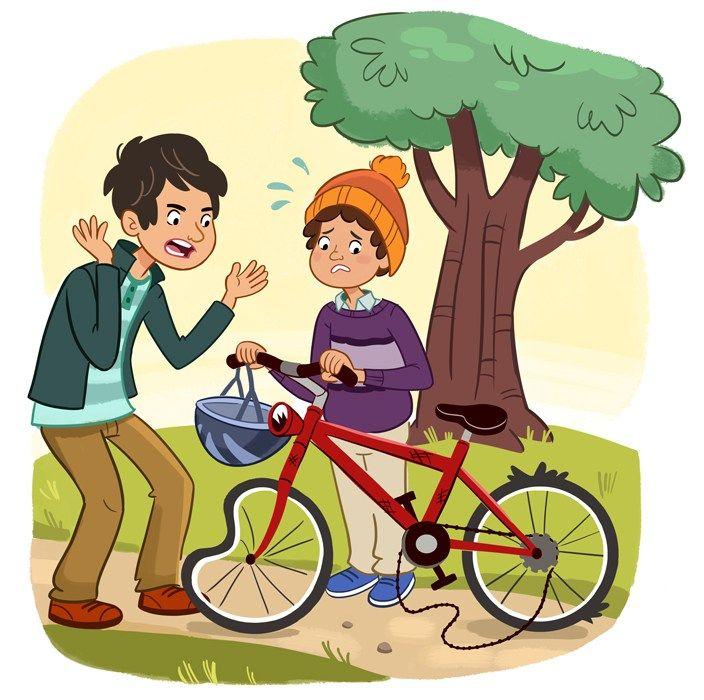 lamina expresion oral accidente de bici