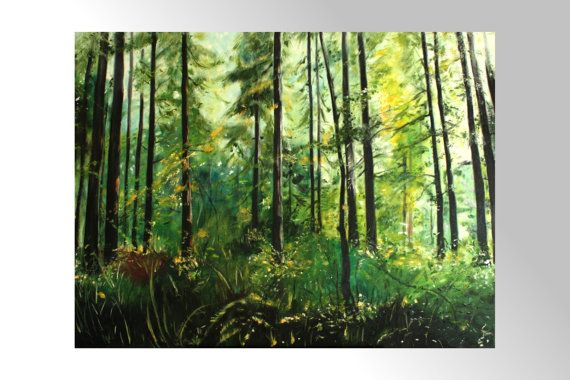 Walk through the woods Oil Painting Art Oryginal by BarbaraGallery