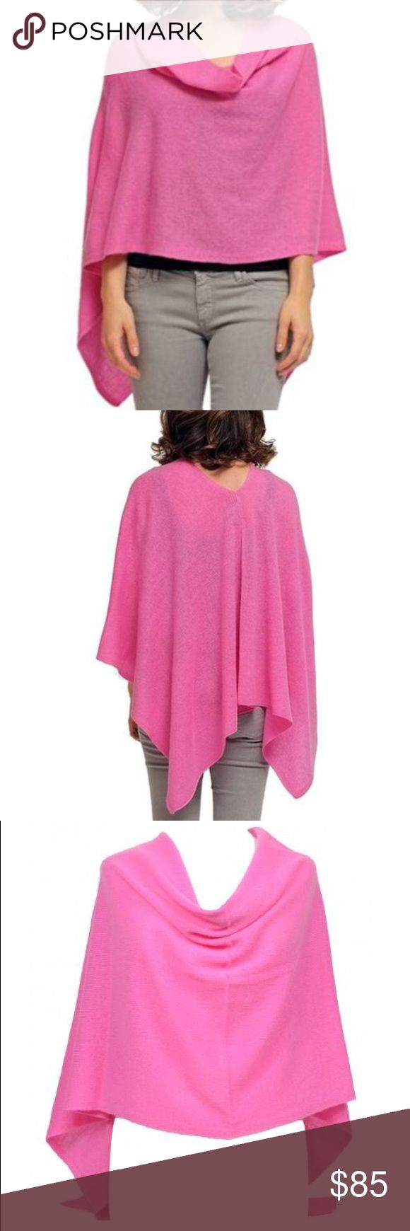 100% Cashmere Dress Topper / Poncho in Candy Pink Beautiful Claudia Nichole 'dress topper' in the color Candy (hot pink). This 100% cashmere poncho is in excellent condition and a one size fits all.  Manufacturers description: The Claudia Nicole Cashmere Dress Topper is so versatile that you can wear it with the seam down your arm, poncho style, or with the seam down your back, creating a soft cowl neck effect in the front. It's light & cozy, handy for travel and you'll be glad you have it…