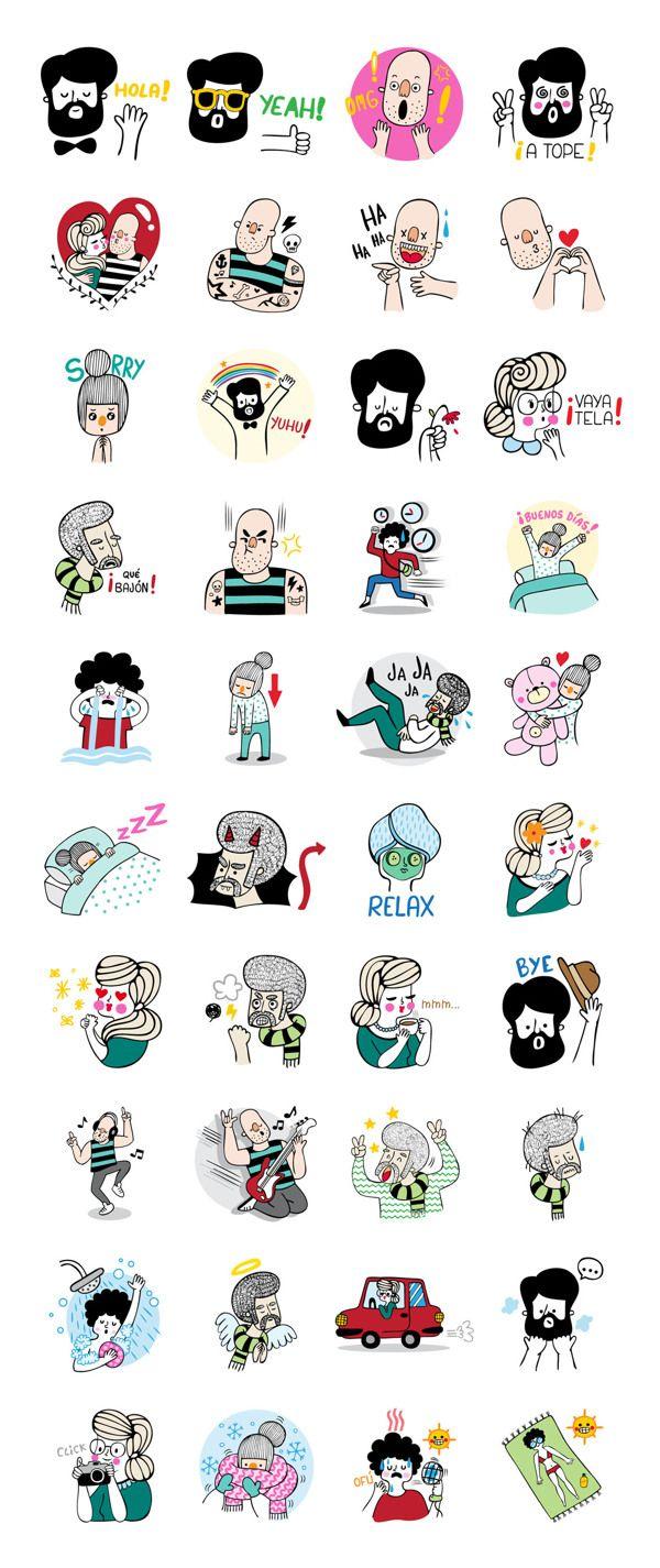 LINE Stickers - A Funny Crew by Alejandra Morenilla, via Behance
