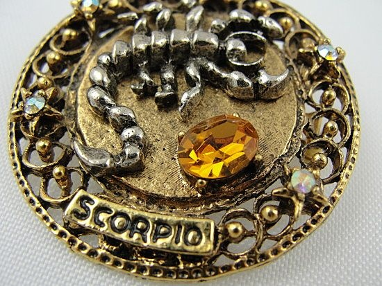 "Vintage Signed ""ART"" Scorpio Sun Sign Zodiac Rhinestone Pin from baublesbeadsbooks on Ruby Plaza"