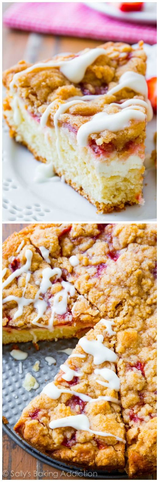Strawberries 'n Cream Crumb Cake complete with a buttery cake, sweet strawberries, cheesecake filling, and vanilla glaze!