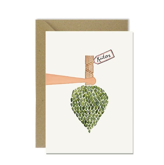 Finnish thank you card with a birch bath whisk (vihtaa). In Finland, an important part of the Finnish sauna tradition is to gently hit one another with a wet bath whisk made from birch branches.